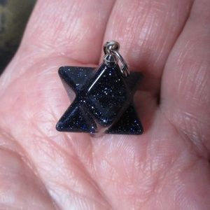 1661 Blue goldstone mini merkaba pendant necklace